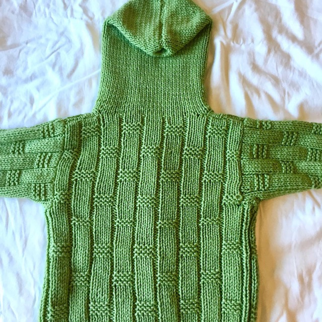 Finished Object: Green Basket Weave Sweater