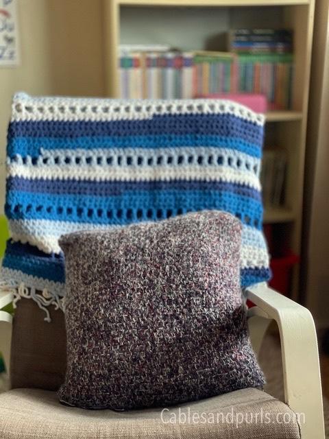 Handmade crochet linen stitch couch pillows