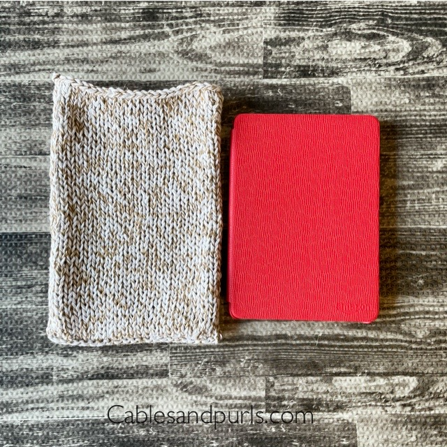 Side by side comparison of the kindle reader and the book sleeve.